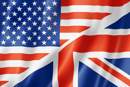 USA and UK flag, three dimensional render, satin texture. speaking english symbol